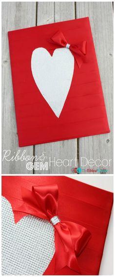Ribbon and Gem Heart Decor - The Ribbon Retreat Blog