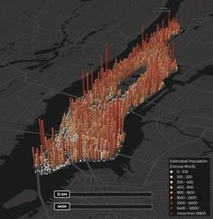New interactive map turns Manhattan's population into a beating heart 3d Data Visualization, Information Visualization, Census Data, Heat Map, Site Analysis, Information Design, Interactive Map, Layout, Map Design