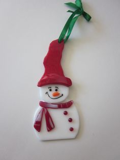 fused glass snowman ornament www.ebay.com/usr/MattsGlassact