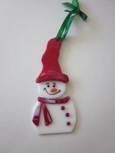 fused glass snowman ornament www.ebay.com/usr/MattsGlassact