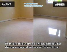 Votre sol en lino est un peu terni ? Vous cherchez une astuce pour nettoyer votre sol en lino dans la chambre ou la cuisine ? Il existe un produit super efficace pour redonner un coup d'éclat à votre lino. L'astuce est d'utiliser de l'alcool ménager. Regardez : #lino