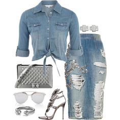 A fashion look from September 2015 featuring Giuseppe Zanotti sandals, David Yurman bracelets and Finn earrings. Browse and shop related looks. Fashion Mode, Denim Fashion, Look Fashion, Autumn Fashion, Fashion Outfits, Womens Fashion, Fashion Scarves, Classy Outfits, Stylish Outfits