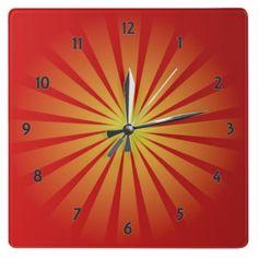 Sun Rays Square Wall Clock by elenaind