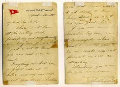 """A letter on Titanic stationary dated April 10, 1912, written by Mr. Snyder to the proprietor of a London tobacco shop where Mr. Snyder purchased cigars before boarding the ship. """"While I sit here at the writing desk peacefully and complacently smoking 'one of your best,' I just want to thank you ..."""""""