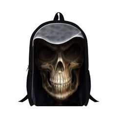 punk style skull head printing school bags for boys fashion skeleton head backpacks for college students girls daily bag mochila