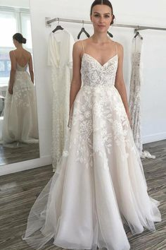 4434a67703c8 Browse Our Large Selection of Wedding Dresses,Glamorous A-line Ivory  Spaghetti Straps Backless