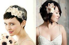 Idee per l'acconciatura da sposa con capelli corti