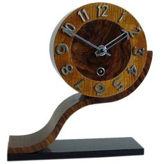 Unusual English Deco Modernist Clock by Norland