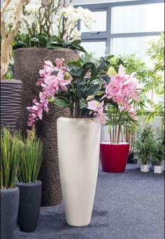 Medinella kunstplant in polystone naturel vaas.