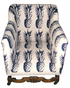 pineapple fabric... I think if I sat down on this pineapple chair, I would worry about getting poked.