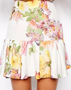 Image 3 ofASOS PETITE Exclusive Textured Print Peplum Hem Skirt
