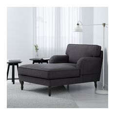 STOCKSUND Chaise, Nolhaga dark gray, black/wood Nolhaga dark gray black