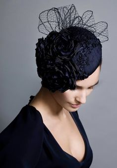 Navy lace beret with flowers and veiling loops  Rachel Trevor-Morgan