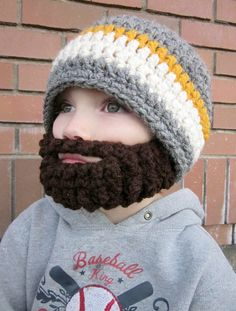Browse through all the different crochet Beard Hat options here. You can find the original beardo beard hat that started it all, or other cool new variations of the concept. Crochet Mustache, Crochet Beard Hat, Knitted Beard, Knitted Hats, Beard Beanie, Grey Beanie, Beanie Hats, Crochet Cap, Crochet Amigurumi