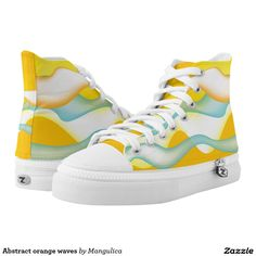 Abstract orange waves printed shoes