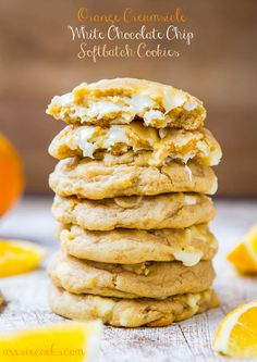 Orange Creamsicle White Chocolate Chip Softbatch Cookies - Cookies that taste like Orange Creamsicles!