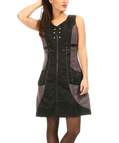 Black & Gray Color Block Zip-Up Dress #zulily #zulilyfinds