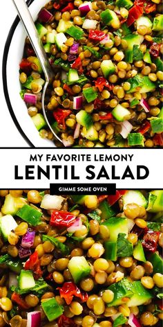 My favorite lentil salad recipe is made with cucumber, sun-dried tomatoes, onion, fresh mint and a zippy lemon dressing. Super simple to make, and so light and refreshing! Lentil Salad Recipes, Healthy Salad Recipes, Veggie Recipes, Whole Food Recipes, Vegetarian Recipes, Cooking Recipes, French Salad Recipes, Super Food Recipes, Dinner Salad Recipes