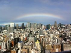 Rainbow over Tokyo Station after typhoon