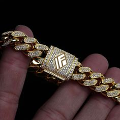 14kt Solid Fully Iced Out 11mm Cuban Bracelet available now on www.IFANDCO.com. #CubanLink #CustomJewelry #IFANDCO