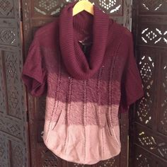 BCBG Burgundy rose ombré cowl neck sweater NEW Hippie chick meets 70s hipster. Sexy fitted ombré sweater with cowl neck, flared short sleeves and front pockets. Very feminine. New with tags BCBGMaxAzria Sweaters Cowl & Turtlenecks