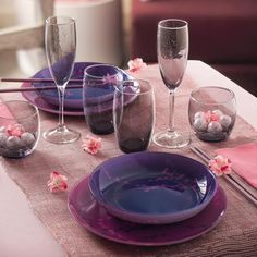 """How incredibly romantic is this collection? """"Kashima"""" with its floral prints and delicate purple touches will have you dreaming of cool breezes and chasing the sun through fields of flowers. #Table #Food #Flower"""