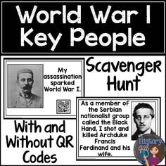 Students learn about some of the key players during World War I (World War 1) by going on a scavenger hunt. https://www.teacherspayteachers.com/Product/World-War-I-World-War-1-Key-People-Scavenger-Hunt-1888514