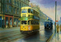 Transportation Poster featuring the painting Glasgow Tram. by Mike Jeffries Scotland History, Uk History, British History, London Transport, Public Transport, Glasgow, Uk Rail, Bus Art, Old Gas Pumps