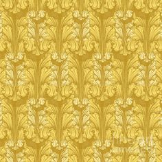 Classic Acanthus Leaves pattern design in Yellow Gold for sale as phone case, throw pillow, duvet cover, tote bag, shower curtain - by Wickedrefined