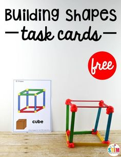 Free building shapes STEM cards. Great math center or STEM box for kids. I love that there are 2D shapes too.