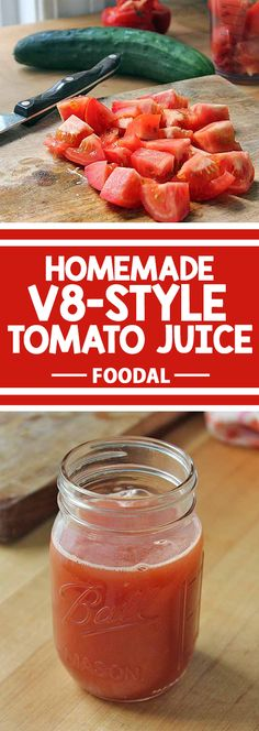 Are you looking for a zesty beverage to whip up in your juicer? How about making Homemade Tomato Juice? Packed full of tomatoes and sweet bell peppers, the added zing comes from savory herbs. Enjoy a refreshing glass in the morning, or as an appe Homemade Tomato Juice, Tomato Juice Recipes, Detox Juice Recipes, Tomato Sauce Recipe, Juicer Recipes, Canning Recipes, Sauce Recipes, Smoothie Recipes, V8 Juice Recipe For Canning