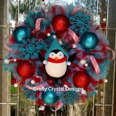 Chilly Willy Penguin Wreath- Christmas Wreath: