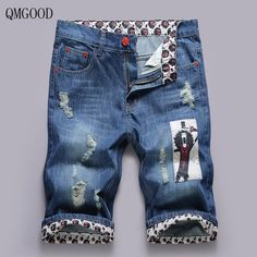 Cheap denim shorts male, Buy Quality fashion men jeans directly from China mens fashion jeans Suppliers: QMGOOD New Fashion Men's Jeans Casual Personalized Ripped Printed Denim Shorts Summer Cotton Shorts Breathable Denim Shorts Male Mens Casual Jeans, Men Casual, Casual Outfits, Denim Pants, Trousers, Men's Jeans, Cheap Jeans, Printed Denim, New Fashion