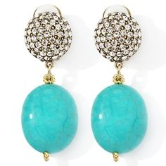 """Heidi Daus """"The Big Pretty"""" Simulated Turquoise Pavé Drop Earrings at HSN.com."""