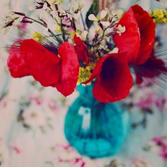 Red poppies by Julia Davila. #teal I need this on my table!
