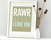 RAAWR  Dinosaurs typography art print - 8x10 - wall art decor for baby and kids playrooms  #pinparty #dinosaur #nursery