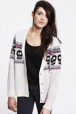 Sparkle & Fade Skull Intarsia Cardigan - Urban Outfitters