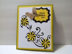 Mothers Day Card yellow and black with butterfly by michgirl74ca, $4.00