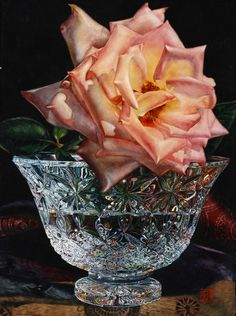 """Rose and Waterford Image Size: 30"""" x 22"""" Transparent Watercolor on Paper by Soon Warren"""