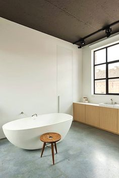 'Minimal Interior Design Inspiration' is a biweekly showcase of some of the most perfectly minimal interior design examples that we've found around the web - Gray And White Bathroom, Grey Bathrooms, Modern Bathroom, Bathroom Taps, Simple Bathroom, Interior Design Examples, Interior Design Inspiration, Estilo Interior, Home Interior