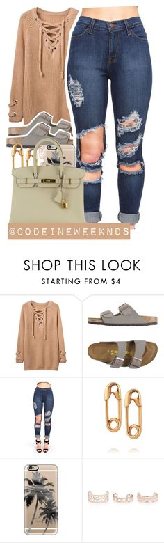 """8/7/16"" by codeineweeknds ❤ liked on Polyvore featuring Birkenstock, IaM by Ileana Makri, Casetify, New Look and Hermès"