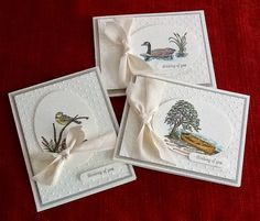 trio of handmade cards from Lynda's Paper Patch: Moon Lake ... lovely vignettes ... elegant look ... Stampin' Up!