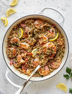 one pot garlic butter shrimp and orzo Fish Recipes, Seafood Recipes, Pasta Recipes, Cooking Recipes, Recipies, How To Make Risotto, Potted Shrimp, Oven Vegetables, Garlic Butter Shrimp