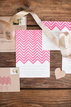 pink chevron #invitations by http://delphinepress.com, Photography: Jessica Burke - www.jessicaburke.com  Read More: http://stylemepretty.com/2013/10/17/tuscany-italy-wedding-from-jessica-burke/