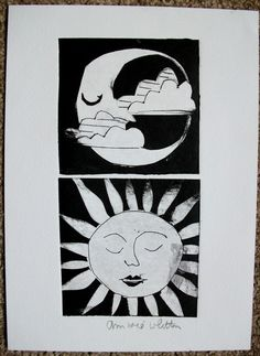ORIGINAL HAND PULLED COLLAGRAPH PRINT SUN AND MOON THEME