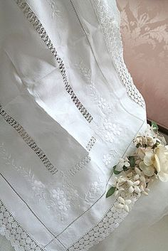 vintage linen edged in lace ~