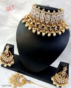 Jewellery Sets Bridal Necklace Set, Bridal Jewelry, Gold Jewelry, Black Choker Necklace, Blue Choker, Women's Jewelry Sets, Women Jewelry, Jewelry Shop, Bollywood Fashion