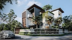 Bungalow House Design, House Front Design, Modern House Design, Modern Architecture House, Architecture Design, Residential Architecture, Modern Family House, Corner House, Beautiful Home Designs