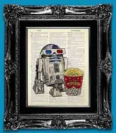 R2D2 Retro STAR WARS Poster Art, Old School Movie Theater Decor, Nerd Art, Geek Poster Print on Dictionary Paper - Popcorn 3D Glasses Robot For Drew? $10.00