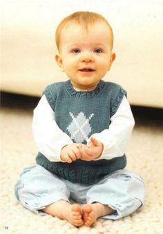 Baby Boy Argyle Vest  knitting pattern  baby  size 318 by elsahats, $3.00
